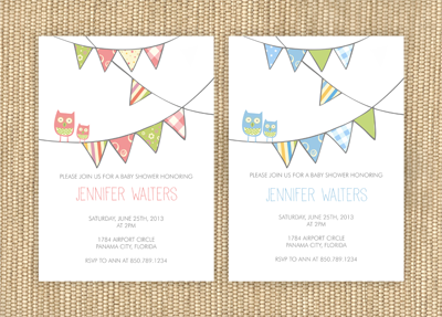 Banner - Owl Baby Shower Invitation