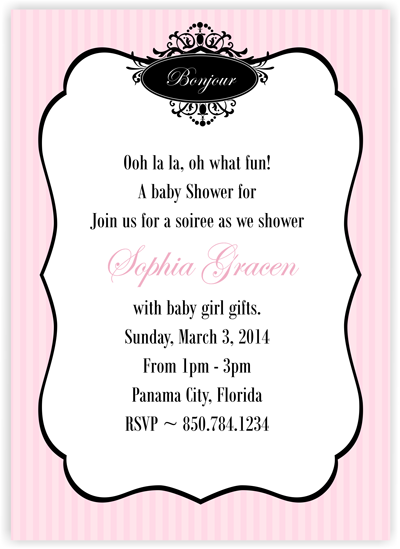 Bonjour - Baby Shower Invitation