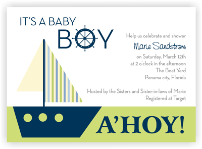 Boy - Sail Boat - Baby Shower Invitation