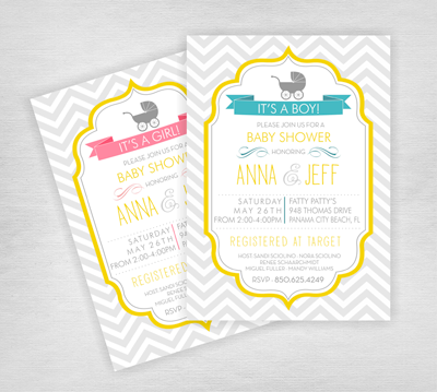 Chevon Carriage - Baby Shower Invitations
