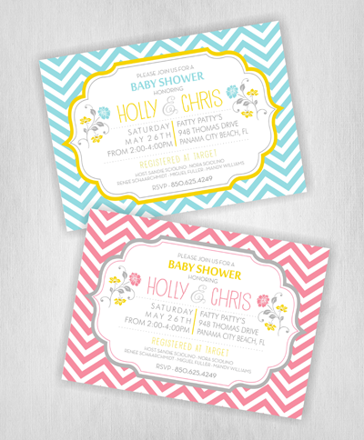 Chevon - Baby Shower Invitations - Horizontal