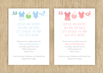 Clothes Line Baby Shower Invitations