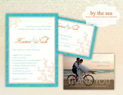 Creative Printing of Bay County - Panama City, Florida - Custom Wedding Invitations - By The Sea