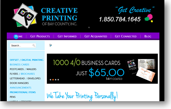Creative Printing of Bay County - Panama City, Florida - Website - Home