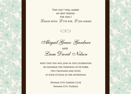 Creative Printing of Bay County - Panama City, Florida - Wedding Invitation - One-Color