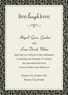 Creative Printing of Bay County - Panama City, Florida - Wedding Invitation - One-Sided - Black