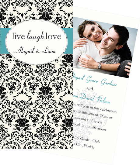 Creative Printing of Bay County - Panama City, Florida - Wedding Invitation - Three-Color - Tall and Narrow