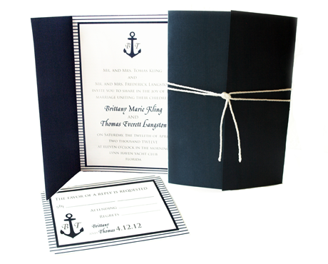 Creative Printing of Bay County - Panama City, Florida_Wedding Invitation - Two-Color - Nautical