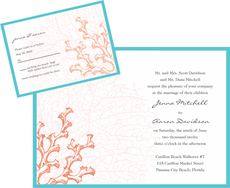 Creative Printing of Bay County - Panama City, Florida - Wedding Invitation - Two-Color - Vellum Overlay