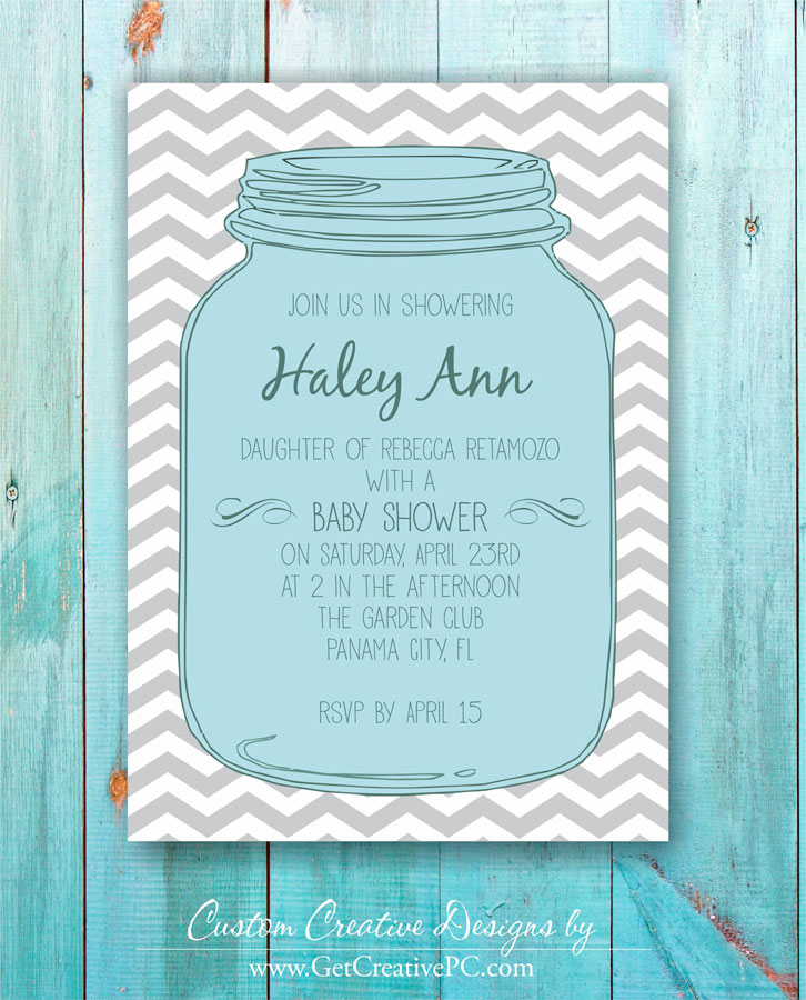 Custom spring baby shower invitations get creative blog creative mason jar spring baby shower invitations creative printing of bay county panama city filmwisefo
