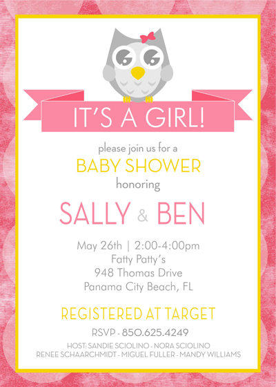 Owl - Baby Shower Invitation
