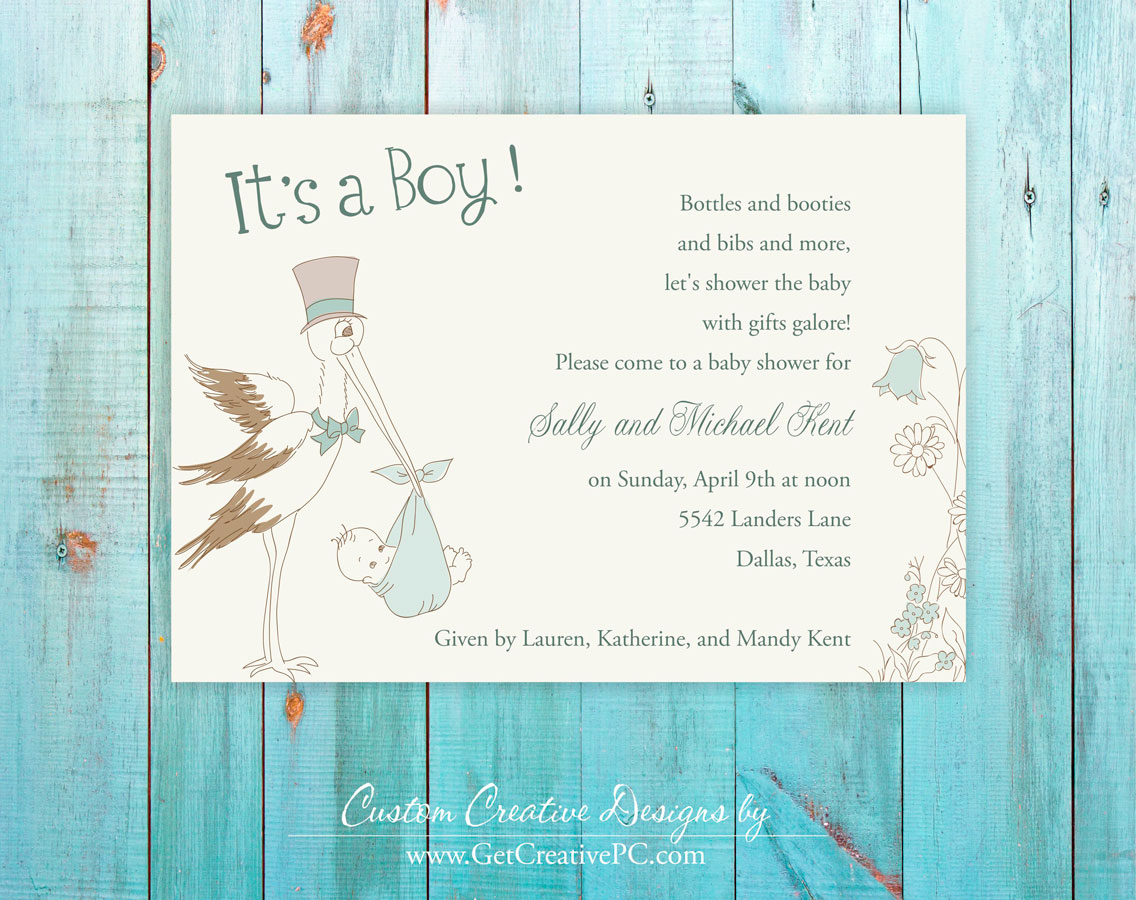 Custom spring baby shower invitations get creative blog creative the stork has arrived spring baby shower invitations creative printing of bay county filmwisefo Image collections