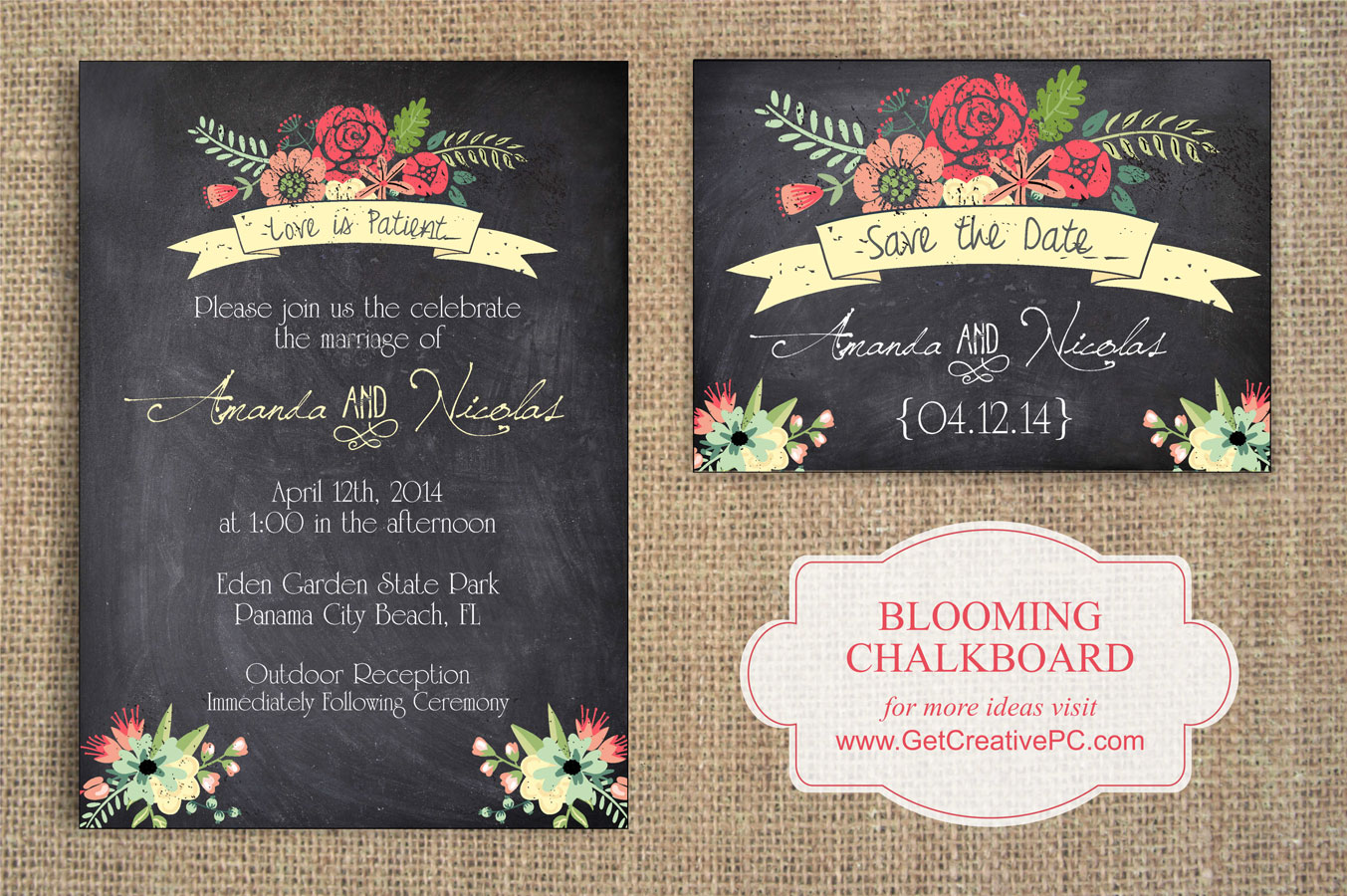 Wedding Invitations Blooming Chalkboard Creative Printing Of Bay County Panama City Florida
