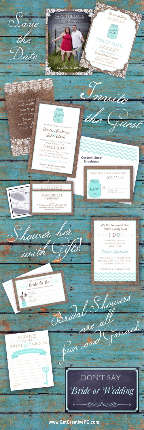 Country Wedding - Invitations - Save The Dates - Bridal Shower Invites - Creative Printing - Panama City, Florida