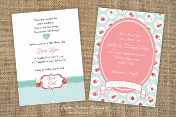 Floral Girl - Spring Baby Shower Invitations - Creative Printing Of Bay County - Panama City, Florida