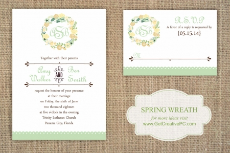 Spring Wedding Invitations - Wreathed - Creative Printing O fBay County - Panama City, Florida