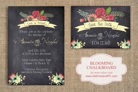 Wedding Invitations - Blooming Chalkboard - Creative Printing Of Bay County - Panama City, Florida