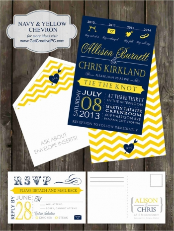 Wedding Invitations - Navy Yellow Chevron - Creative Printing Of Bay County - Panama City, Florida