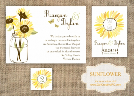 Wedding Invitations - Sunflower - Creative Printing Of Bay County - Panama City, Florida