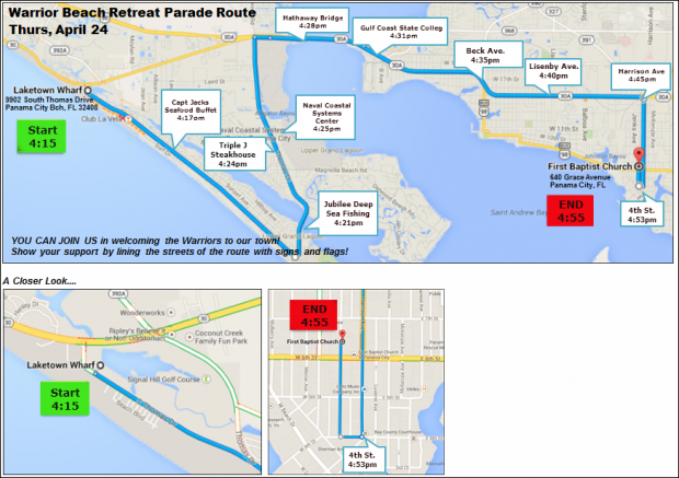 Parade Route - Warrior Beach Retreat - Panama City Beach, Florida