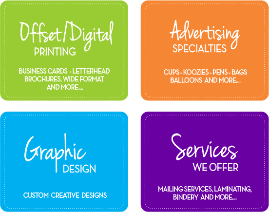 Creative Printing of Bay County, Panama City, Florida - Offset Digital Print Products - Advertising Specialties - Graphic Design - Print Shop Services