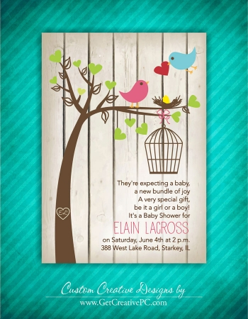 Bird Cage In A Tree - Spring Baby Shower Invitations - Creative Printing Of Bay County - Panama City, Florida