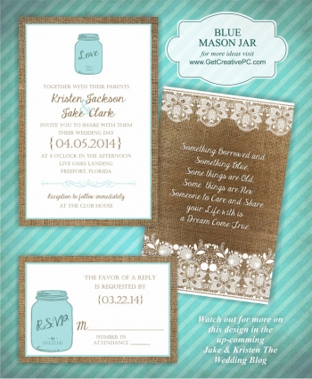 Wedding Invitations - Blue Mason Jar - Creative Printing Of Bay County - Panama City, Florida